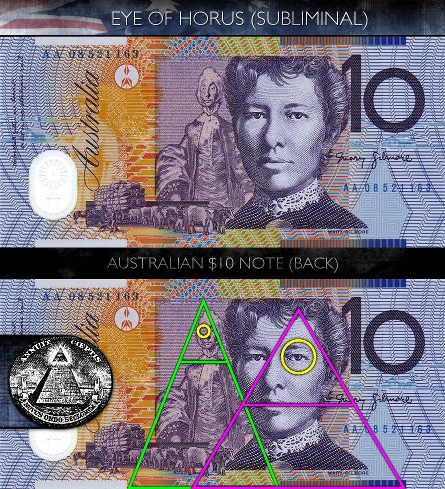 Australian 10 Dollar Note - Back - Eye of Horus - Subliminal