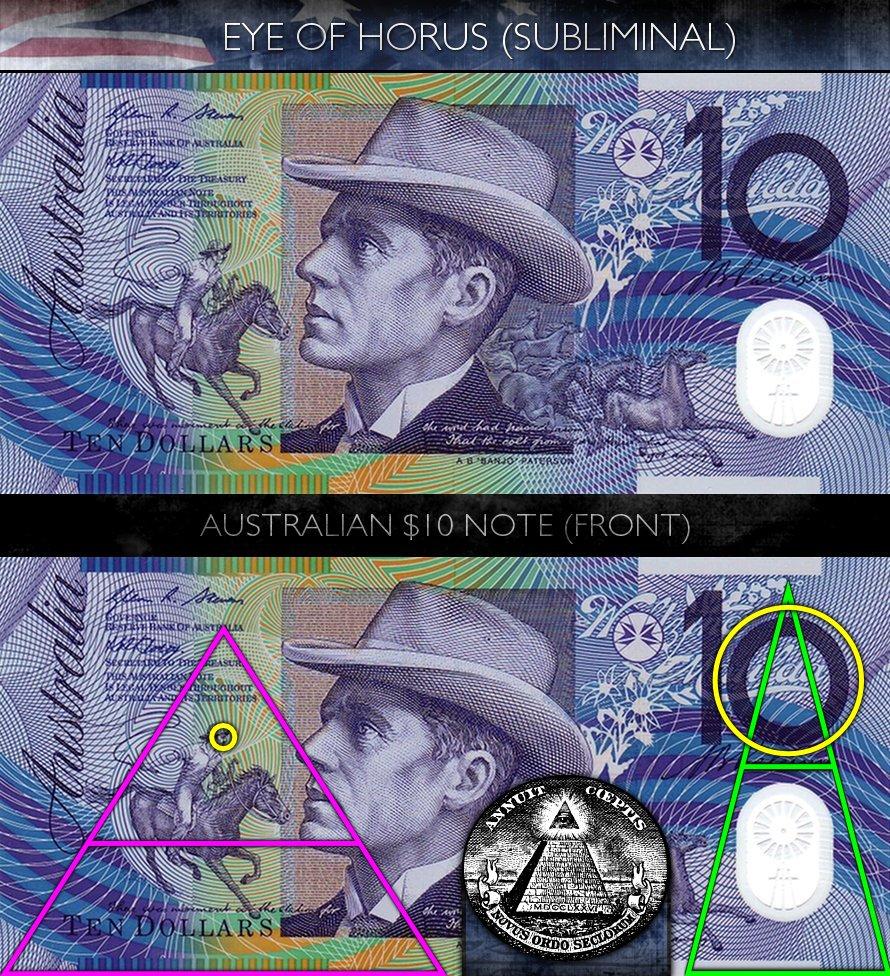 Australian 10 Dollar Note - Front - Eye of Horus - Subliminal