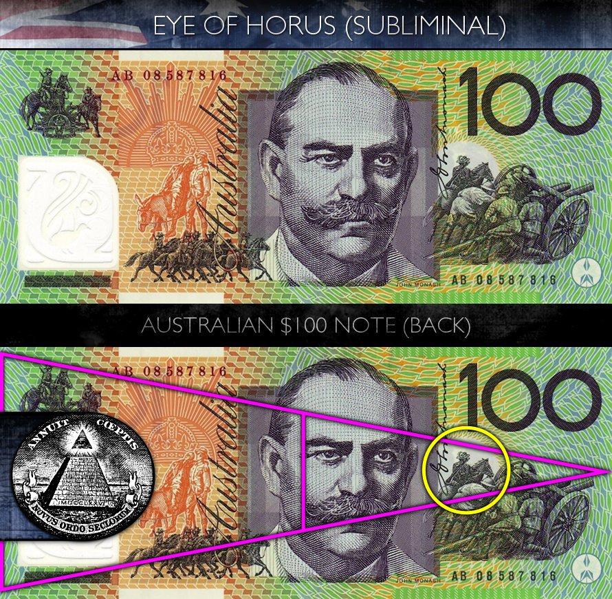 Australian 100 Dollar Note - Back - Eye of Horus - Subliminal