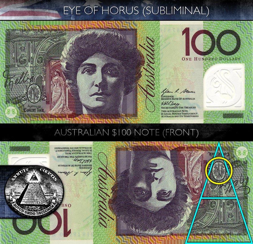 Australian 100 Dollar Note - Front - Eye of Horus - Subliminal