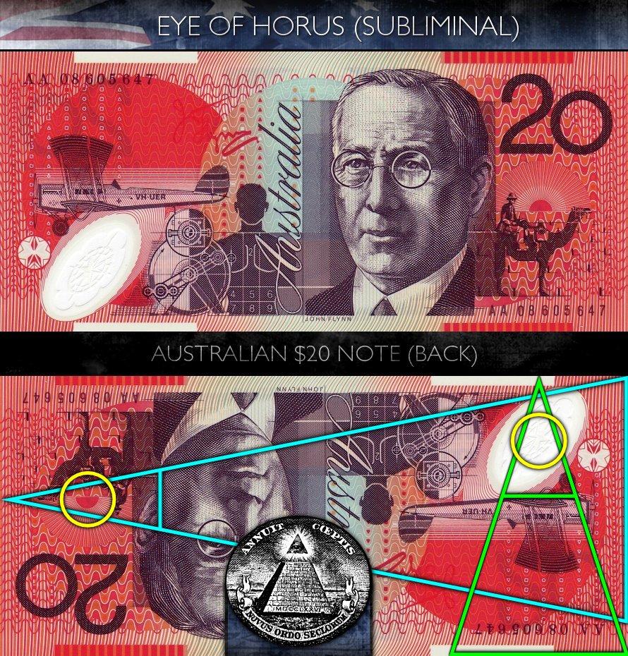 Australian 20 Dollar Note - Back - Eye of Horus - Subliminal