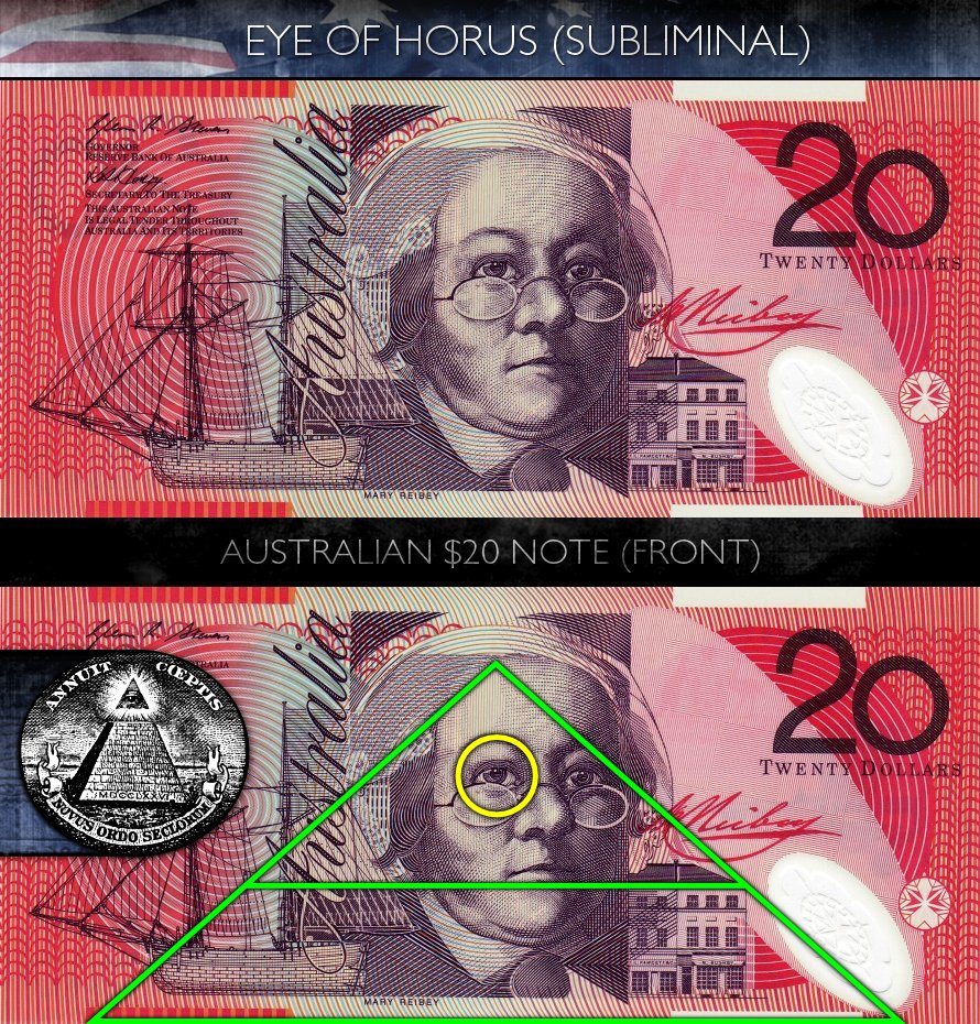 Australian 20 Dollar Note - Front - Eye of Horus - Subliminal