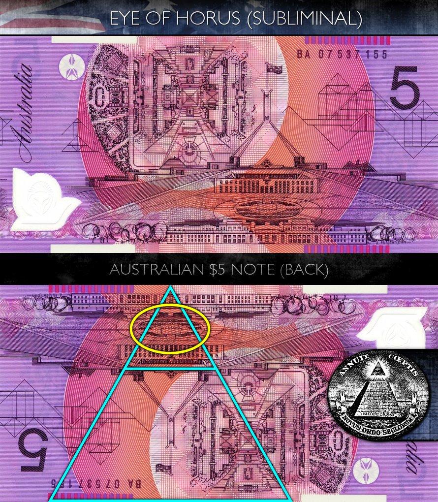 Australian 5 Dollar Note - Back - Eye of Horus - Subliminal