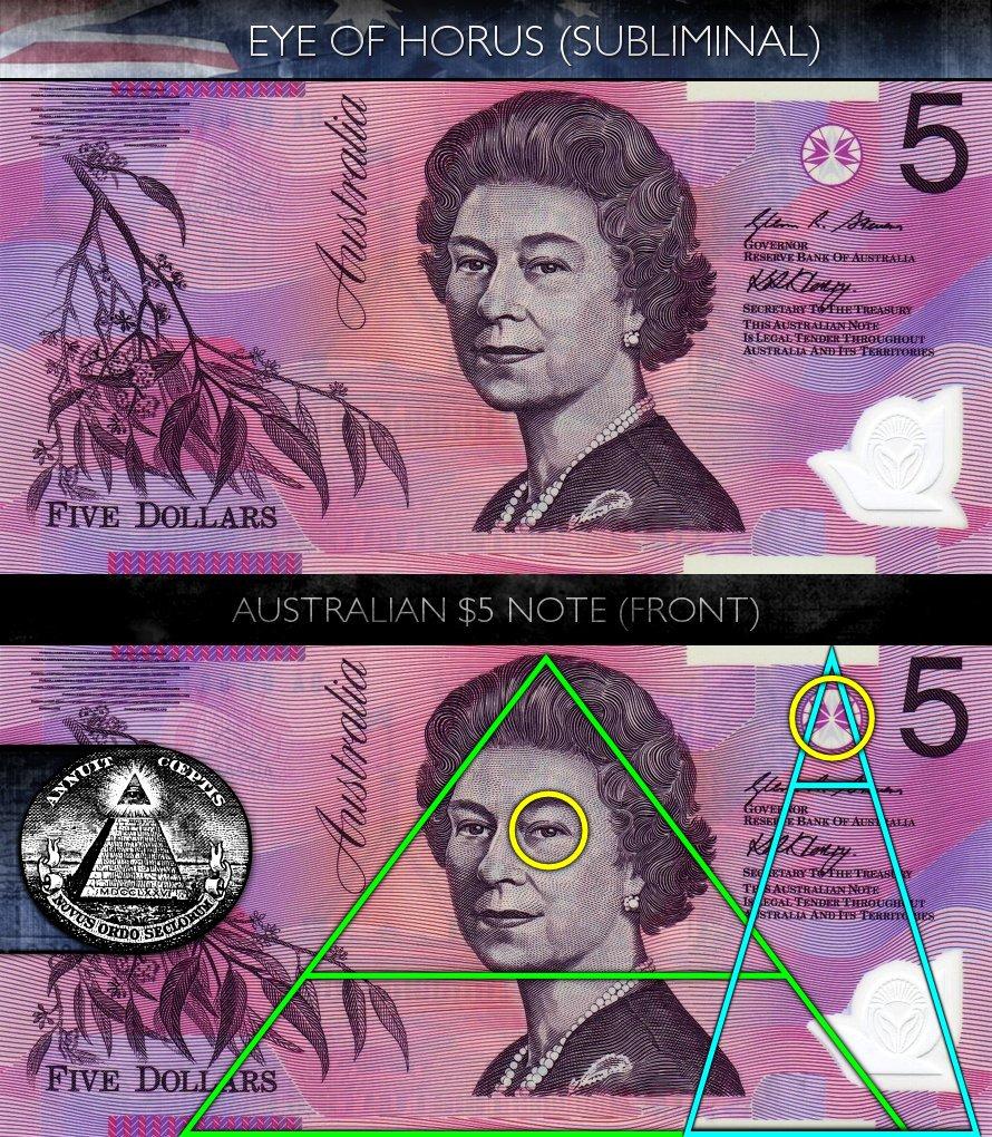 Australian 5 Dollar Note - Front - Eye of Horus - Subliminal