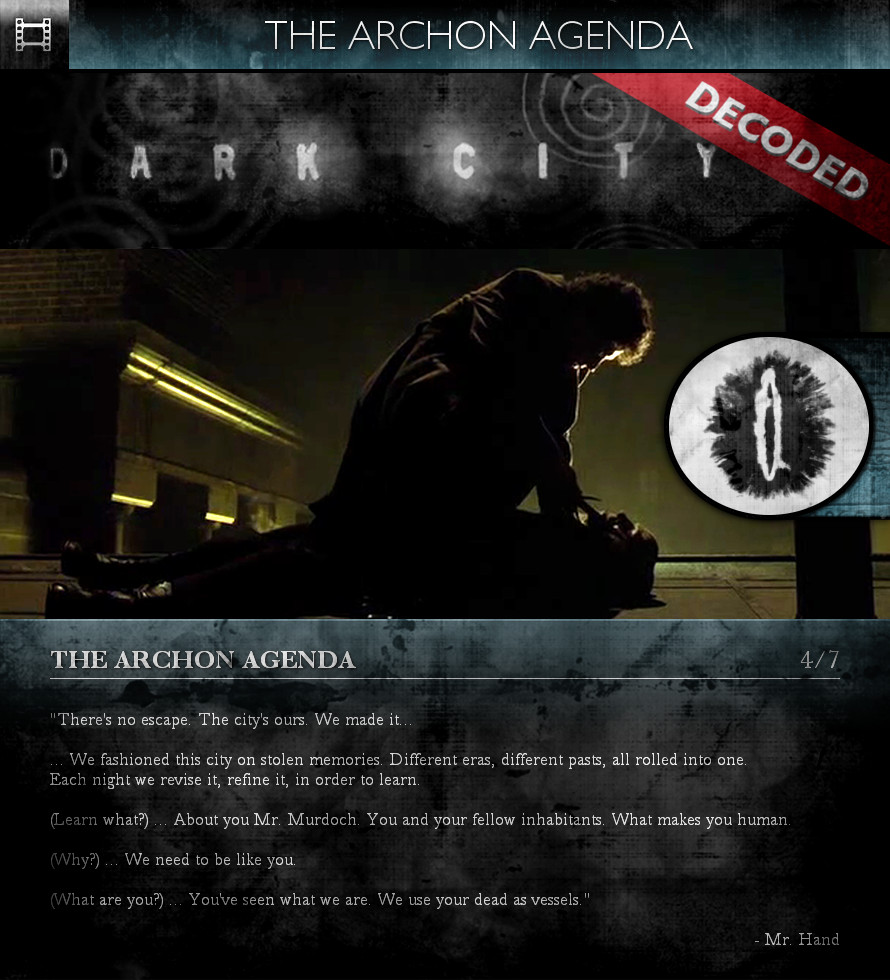 Dark City (1998) - The Archon Agenda